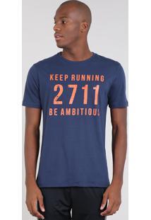 "Camiseta Masculina Esportiva Ace ""Keep Running"" Manga Curta Gola Careca Azul Marinho"