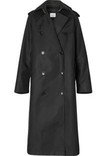 Burberry Trench Coat Com Sobreposição - Preto