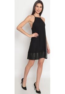 Vestido Liso Com Recorte- Preto- Tritontriton