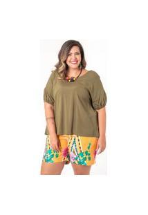 Blusa Ampla Almaria Plus Size Munny Detalhe Posterior Verde