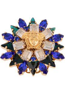 Versace Anel Medusa Com Flor De Cristais - Dourado