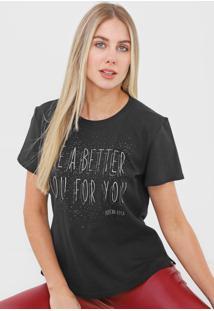 Camiseta Morena Rosa Lettering Aplicações Preta
