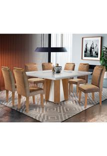 Conjunto De Mesa Para Sala De Jantar Quadrada Com 8 Cadeiras Helena/Athenas-Rufato - Animalle Chocolate / Off White / Imbuia