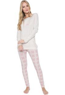 Pijama Cor Com Amor Estampado Off-White/Rosa