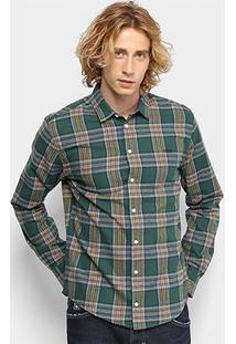 Camisa Xadrez Colcci Manga Longa Slim Masculina - Masculino-Verde+Laranja