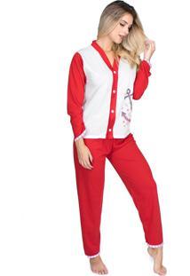 Pijama Longo Bravaa Modas Blusa Aberta Botões 014 Vermelho