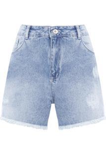 Short Feminino Jeans Com Puídos - Azul