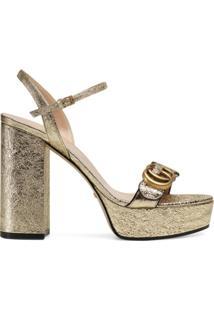 Gucci Sandália Plataforma Com Duplo G - Dourado