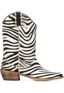 P.A.R.O.S.H. Ankle Boot Pull-On De Zebra - Branco
