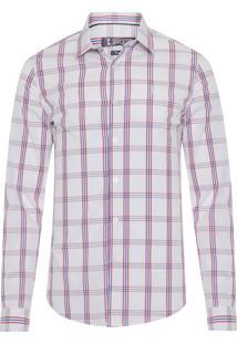 Camisa Masculina Quadriculada Bicolor - Branco