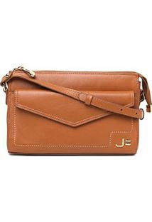 Bolsa Couro Jorge Bischoff Mini Bag Envelope Feminina - Feminino-Caramelo