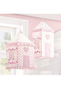Luminárias Teto Casinhas Patchwork Rosa 2 Pçs Gráo De Gente Rosa - Tricae