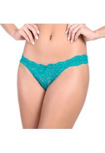 Calcinha Tanga Com Renda Frontal - Feminino-Azul Turquesa