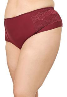 Calcinha Calvin Klein Underwear Hot Pant Renda Vinho