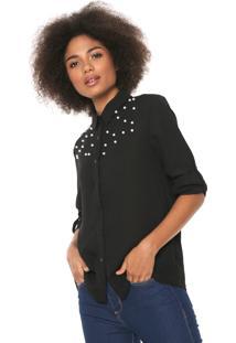 Camisa Lily Fashion Aplicações Preta