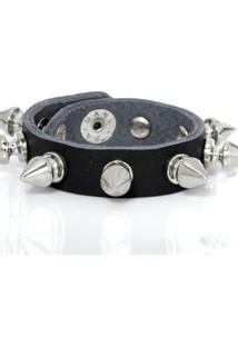 Bracelete Fino Rebite - Unissex-Preto