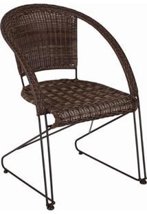 Cadeira Empilhável Sonata Mestra Móveis Tabaco/Preto