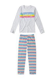 Pijama Longo Listrado Malwee Liberta (1000052441) 100% Algodão