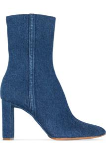 Y/Project Ankle Boot Jeans Com Salto 100Mm - Azul