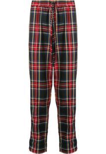 Andrea Crews Logo Check Drawstring Trousers - Vermelho