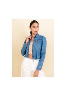 Jaqueta Sisal Jeans Manga Bufante Sem Cós