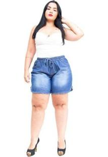 97b59c969f0191 Shorts Jeans Brunfer Plus Size Elisiely Feminino - Feminino-Azul