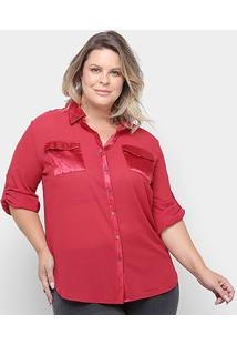 Camisa Social Heli Manga Longa Lisa Plus Size Feminina - Feminino-Vermelho