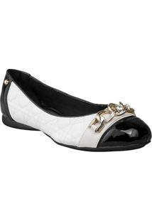 Sapatilha Sapatoweb Bico Quadrado Confort Feminino - Feminino-Branco+Preto