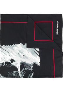 Karl Lagerfeld Echarpe Com Estampa Abstrata - Preto