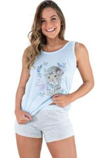 Pijama Curto Shortdoll Noite Mvb Modas Feminino - Feminino-Azul