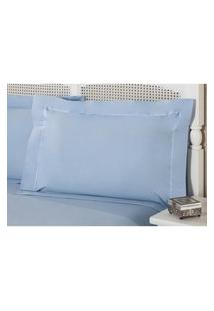 Fronha Avulsa Azul Percal 230 Fios 50X70Cm Premium Plumasul