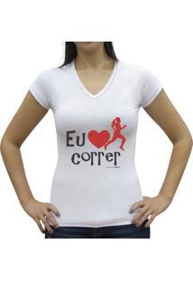 Camiseta Baby Look Casual Sport Eu Amo Correr Branca