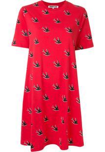 Mcq Alexander Mcqueen Vestido Mini Com Estampa De Andorinhas - Vermelho