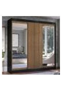 Guarda-Roupa Casal Madesa Istambul 3 Portas De Correr Com Espelhos 3 Gavetas - Preto/Rustic