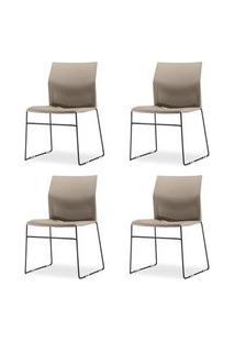 Kit 4 Cadeiras Connect Assento Bege Base Fixa Preta - 57591 Bege