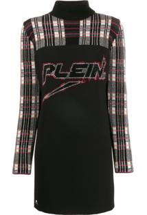 Philipp Plein Vestido De Tricô Com Aplicação De Logo - Preto