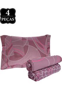 Jogo De Cama Queen Hedrons By Design Florence Percal 250 Fios 4Pçs Vinho
