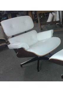 Poltrona Charles Eames Imbuia Couro Natural Branco 26600 - Sun House