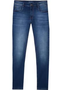 Calca Denim Malha Washed Blue (Jeans Medio, 46)