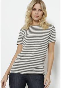 Camiseta Com Linho Listrada- Bege & Cinzadudalina