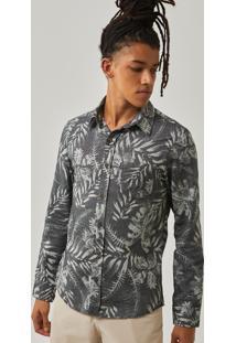 Camisa Manga Longa Estampada Batik Preto