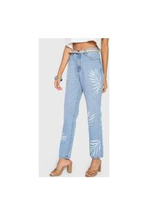 Calça Jeans Cantão Reta Folhagem Azul
