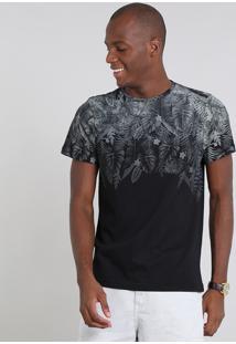 Camiseta Masculina Estampada Folhagem Manga Curta Gola Careca Preta
