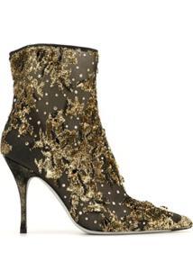 René Caovilla Lurexa 100Mm Embroidered Ankle Boots - Dourado