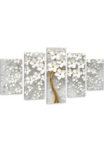 Quadro 65X125Cm Canvas Flores Cerejeiras Pétalas Branca Luxo