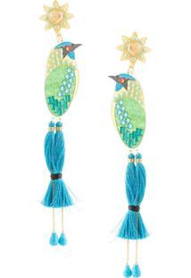 Mercedes Salazar Par De Brincos Tropics Bird - Azul