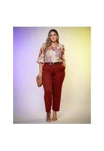Blusa Almaria Plus Size New Umbi Ombro Vazado Rosa