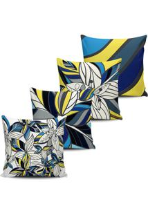 Kit 4 Capas Almofada Floral Abstrata Azul E Amarela 45X45Cm - Tricae