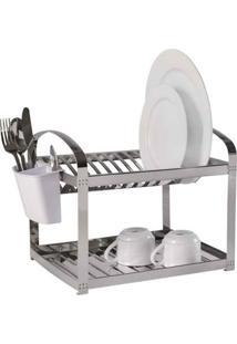 Escorredor De Pratos Suprema Aço Inox Capacidade 12 Pratos Grátis Dispenser Brinox