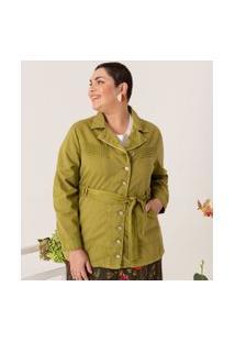 Jaqueta Lisa Com Bolsos E Cinto Curve & Plus Size | Ashua Curve E Plus Size | Verde | Gg